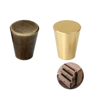 Tiazza Mid-Century Modern Style Premium Copper Solid Cabinet Knobs Handle Cone Shoe Book Drawer Knob Cylinder Handle