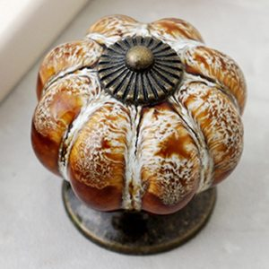 Retro Round Pumpkin Ceramic Handles 38mm Wardrobe Drawer Knobs Cupboard Door Handle Single Hole Cabinet Handles Furniture Handle