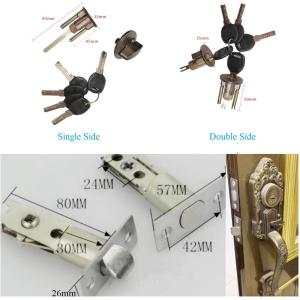 Zinc Antique Bronze Aluminum Frame Glass Wooden 35-45MM Door Lock Set With Lever Bow Pull American European Classic Rural