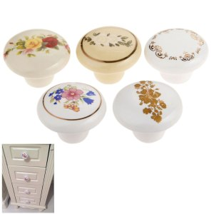 Ceramic Drawer Knob Cabinet Pulls Cabinet Cupboard Pull Handle Furniture Hardware Single Hole 38mm Vintage Flower plated