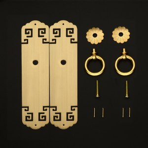 Tiazza A pair Chinese Vintage Style Antique Brass Pull Handle Knobs Drawer Cabinet Bookcase Straight Plate Single Hole Handle