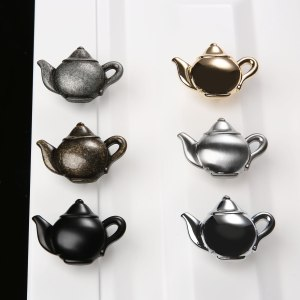 1pc Teapot Antique Furniture Handle Zinc Alloy Drawer Door Knobs Closet Cupboard Kitchen Pull Cabinet Knobs Decorative Handles