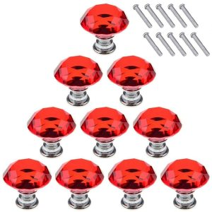 Red 10Pcs 30mm Crystal Glass Cabinet Knobs Diamond Shape Drawer Kitchen Cabinets Dresser Cupboard Wardrobe Pulls Handles