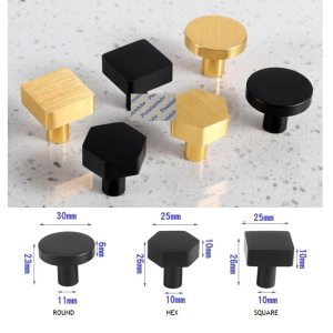 4Pcs/Lot Brushed Gold Matte Black Aluminum Round Hex Square Furniture Cabinet Cupboard Drawer Knob