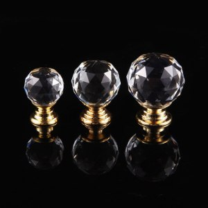 Kitchen Crystal Door Handle European Cupboard Wardrobe Cabinet Single Hole Drawer Knobs Furniture Pulls with Screws