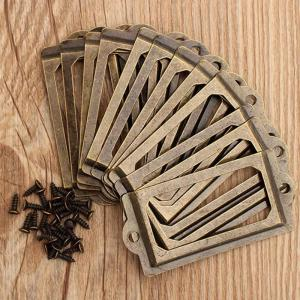 12Pcs Antique Brass Metal Label Pull Frame Handle File Name Card Holder Furniture Hardware For Furniture Cabinet Drawer Box Case