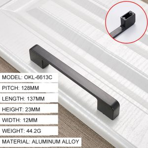 New Fashion Style Black Cabinet Handles Solid Aluminum Alloy Kitchen Cupboard Pulls Drawer Knobs Furniture Handle Hardware Tools