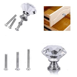Clear Crystal Door Knob Glass Cabinet Handle Furniture Kitchen Decor