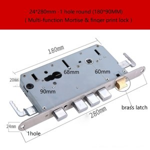 Multi-function mortise fingerprint lock part door lock body 24*280 (90mm deep ) Fitting Hardware Security lock body