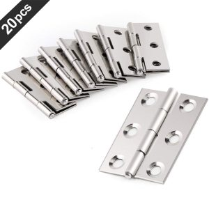 20 Pcs Hardware Stainless Steel Hinges Door Connector Drawer 6 Mounting Holes Durable Furniture Bookcase Window Cabinet Home