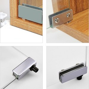 2Pcs Glass Door Pivot Hinge Cabinet Doors Wardrobe TV Cabinets Bookcases Clamp Clip Silver Glass Hinges For Cabinet Cupboard