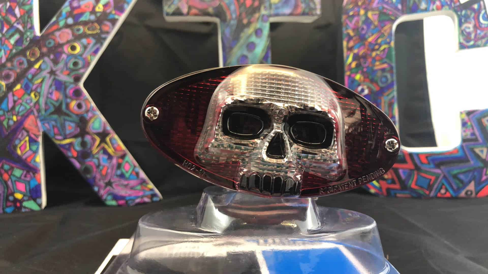 Chrome LED Cat Eye with Skull Face Taillight Featured Image