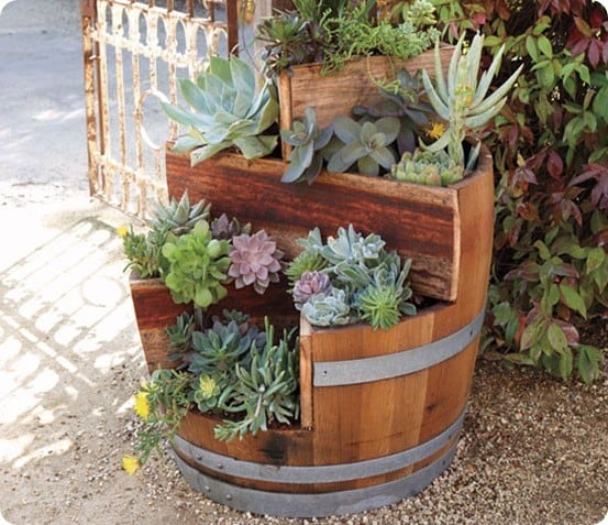 Wine Barrel Flower Planter