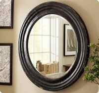 Antiqued Black Round Mirror