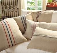 Stenciled Feed Sack Pillow