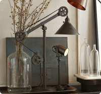 Junk Metal Pulley Lamp