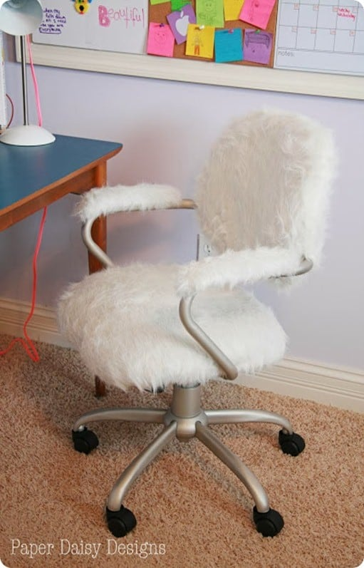 Refabbed with Fur Desk Chair Makeover  KnockOffDecorcom