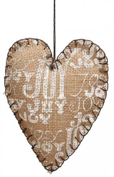 Handstitched Burlap Heart Ornaments