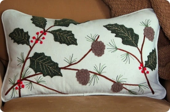 Embroidered Christmas Pillow from Old Sweaters