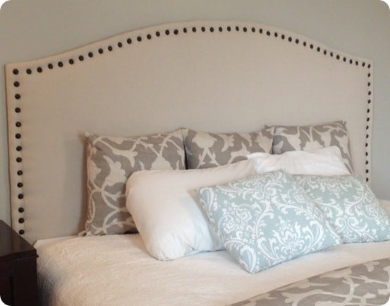 drop cloth upholstered headboard with