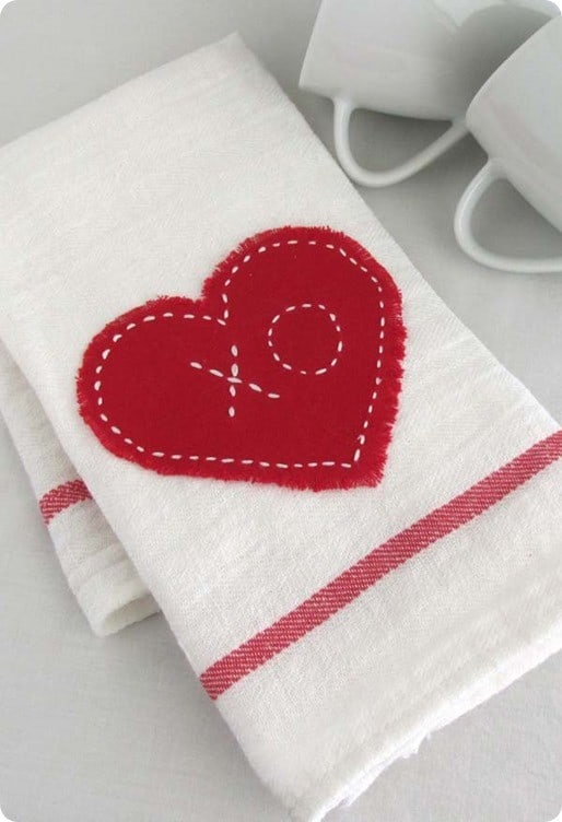 cheap kitchen towels play kitchens for sale no-sew heart applique towel under $1