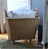 Oversized Wicker Basket with Wheels