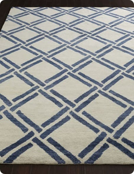 Blue and White Lattice Spray Painted Rug  KnockOffDecorcom
