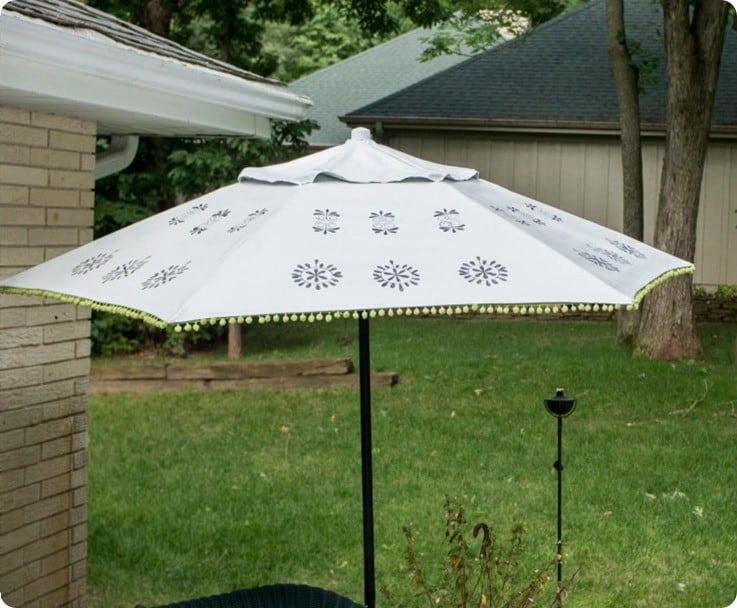 floral medallion painted patio umbrella