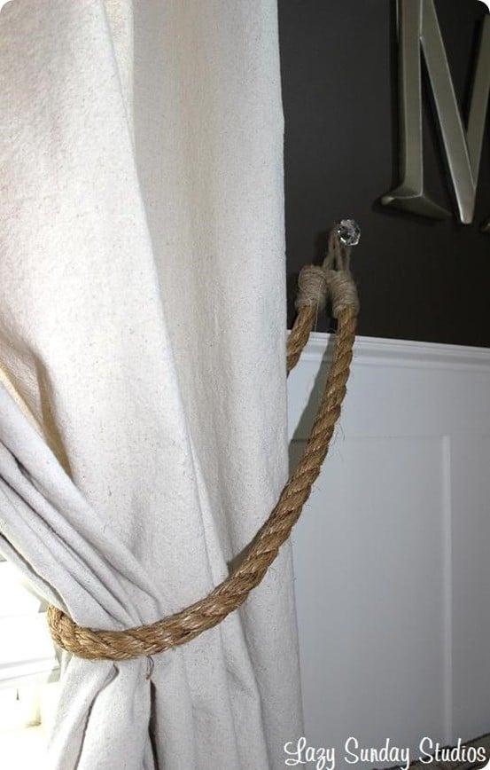 DIY Rope Curtain Tiebacks