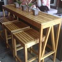 Outdoor Bar Console and Counter Stools