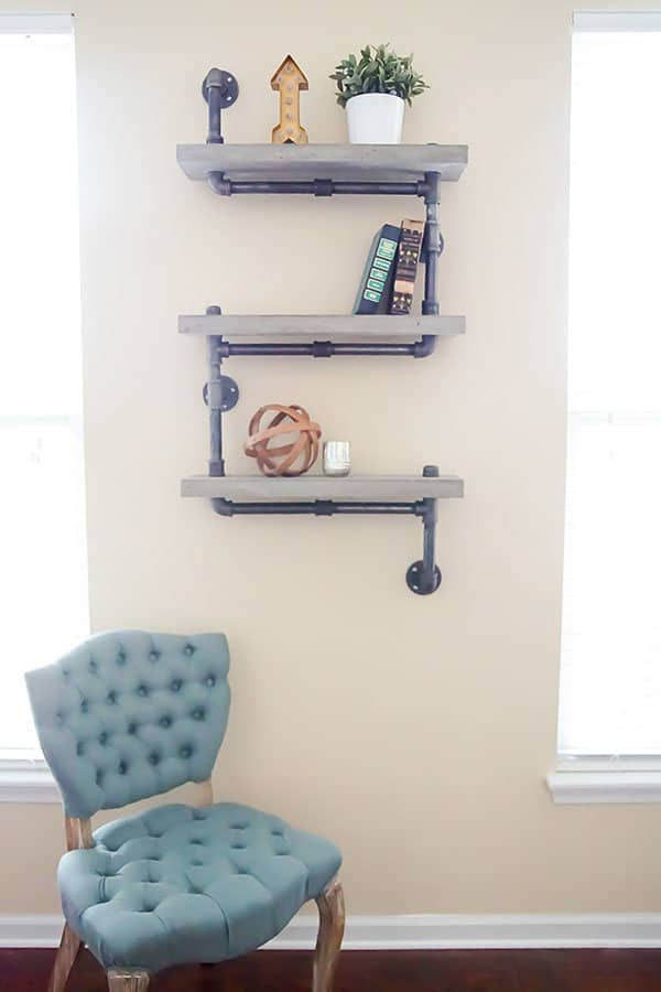hanging chair restoration hardware covers b&q diy industrial concrete and pipe shelves