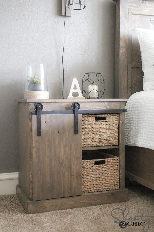 Make Your Own Sliding Barn Door Night Stand