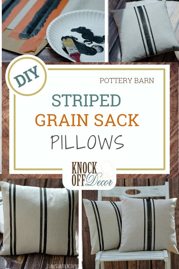 painted stripe grain sack pillows