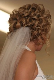 curly wedding hairstyle with veil