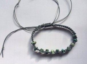 Turquoise Macrame Bracelet with Grey Cord