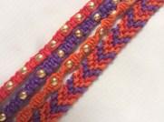 4 Hemp Cord Bracelets with Gold Beads orange purple red