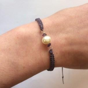 pearl, amethyst, purple, macrame bracelet, birthstone, chakra