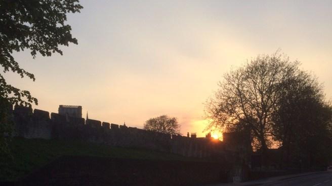 york walls sunset minster