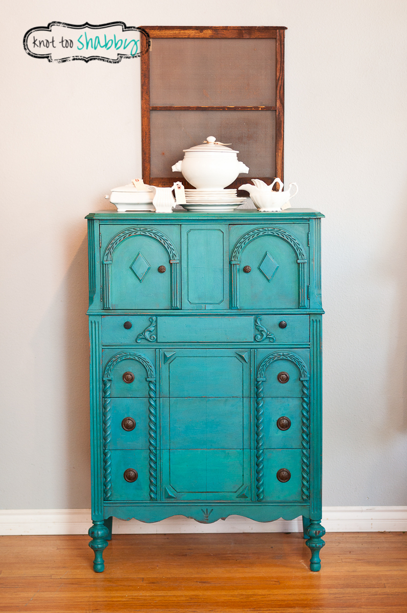 Peacock Blue Cabinet SOLD  Knot Too Shabby Furnishings