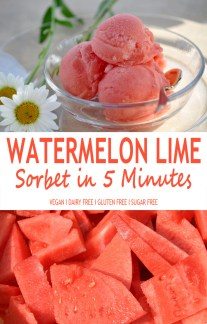 Watermelon Lime Sorbet In 5 Minutes