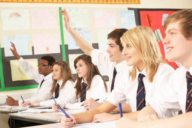 Teenage students in classroom