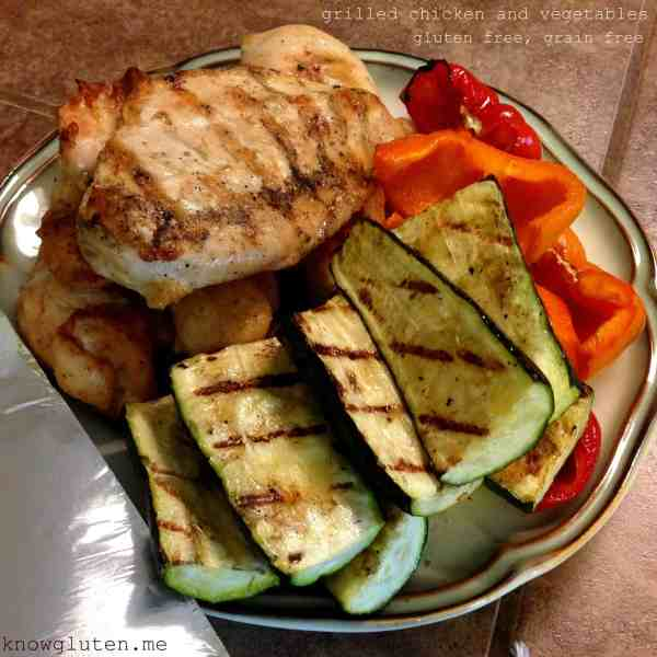 grilled chicken and vegetables - gluten free, grain free, from know gluten.me
