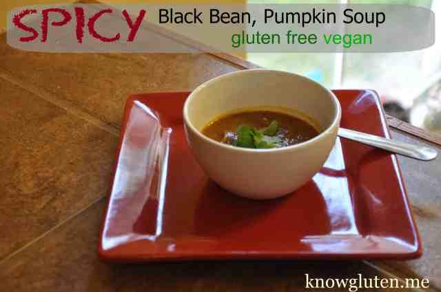Spicy Black Bean, Pumpkin Soup, Gluten Free, Vegetarian