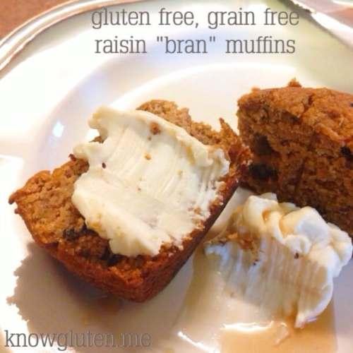 Gluten free, grain free raisin bran muffins