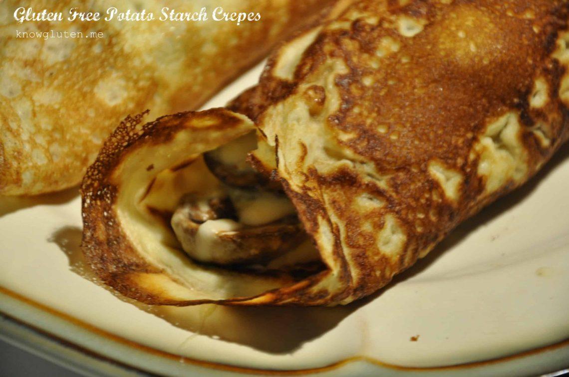 A closeup of potato starch tortillas.