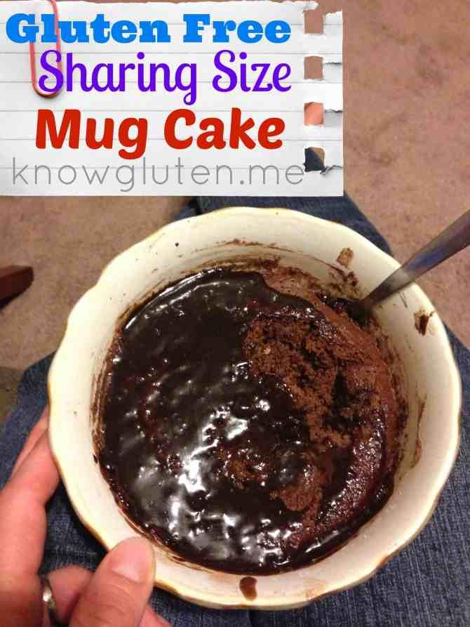 Gluten Free sharing size chocolate mug cake made with Gluten Free Bisquick from knowgluten.me