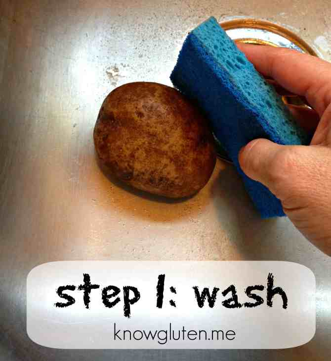 How to make loaded baked potatoes - step 1 Wash