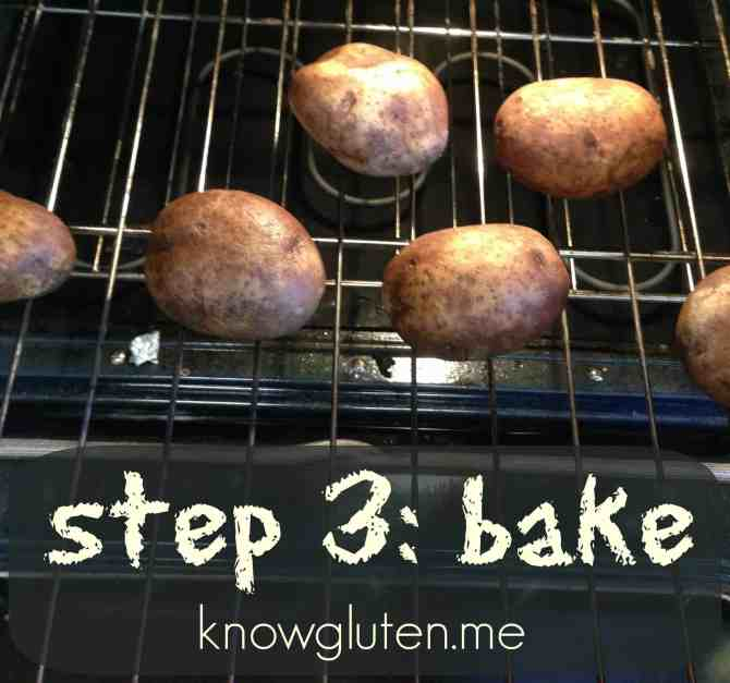 how to make loaded baked potatoes, step 3- bake knowgluten.me