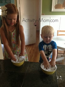 shaving cream and cornstarch cloud dough from activity-mom