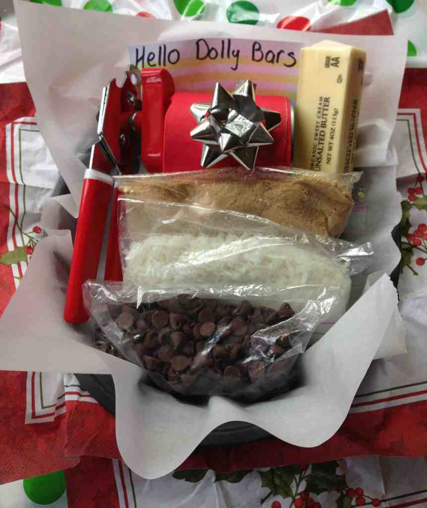 gluten free hello dolly bars - package the ingredients in a baking pan as a gift basket - knowgluten.me